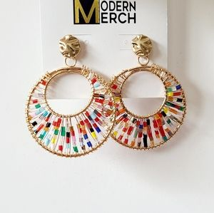 Gold Colorful Beaded Circle Earrings